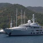 A superyacht at Göcek near Fethiye, Turkey.