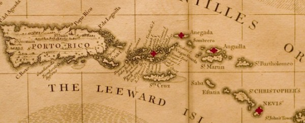 Caribbean with Nevis, Anguilla, Tortola, and Anegada marked.
