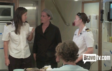 "From Bravo's ""Below Deck"": Chef Ben discusses the use of the guest fruit supply in making endless amounts of juice with stewardesses Sam Orme and Adrienne Gang. Photo Source: BravoTV.com"