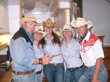 A yacht crew throwing a cowboy and western-themed party for charter guests.
