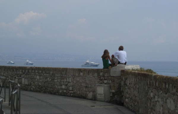 Megayacht crew on lunch break in Antibes, France near Port Vauban.