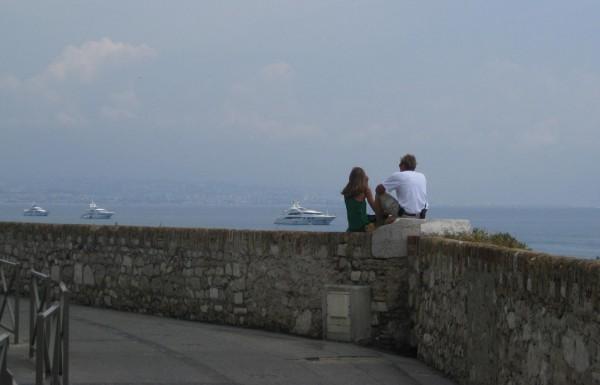 Megayacht crew on lunch break in Antibes, France near Port Vauban.