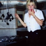 Julie Perry in her days as a yacht stewardess, decorating for a theme party for charter guests.