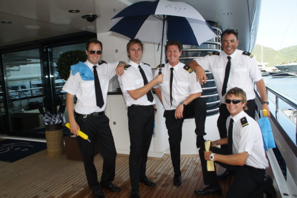 Members of the deck crew on M/Y Cloud 9. Photo courtesy of Suki Finnerty, YachtingToday.TV.