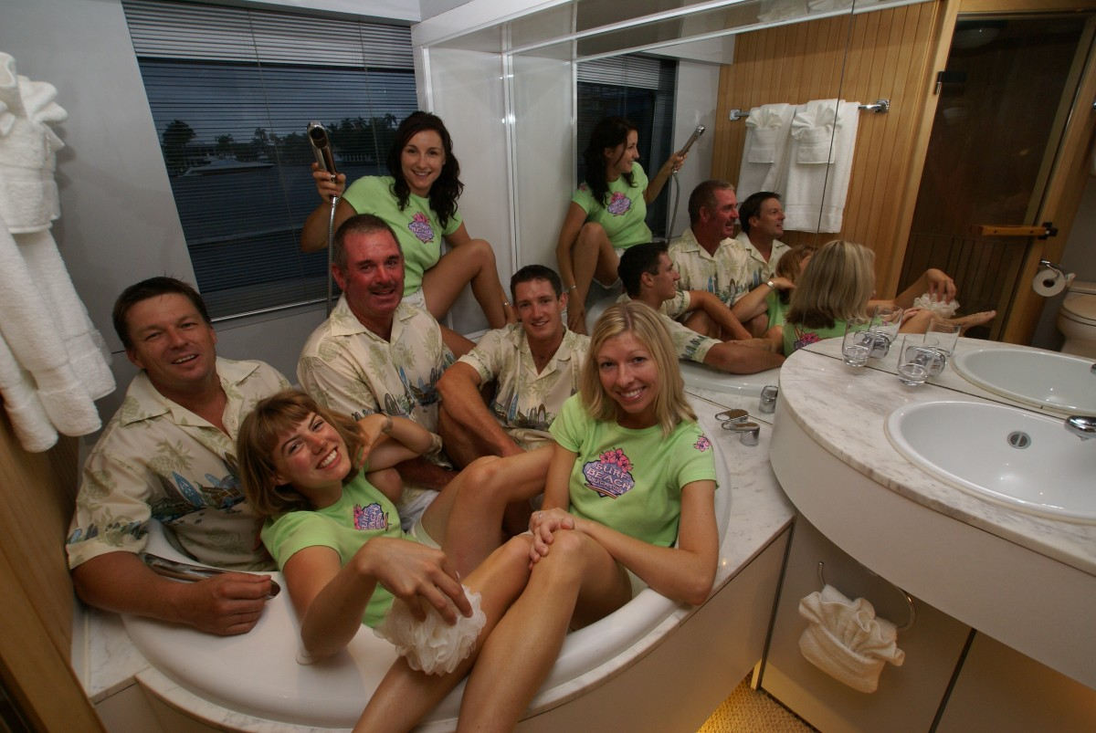 "A superyacht crew having some fun ""team time"" onboard."