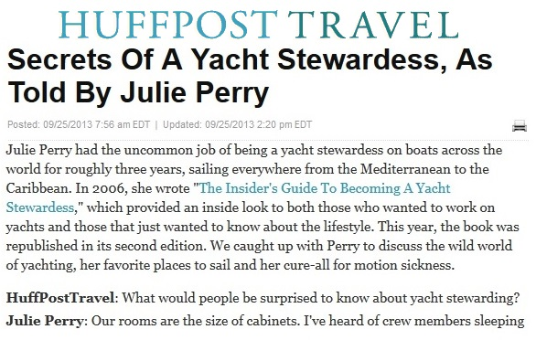 HuffPost Travel Julie Perry Yacht Stewardess