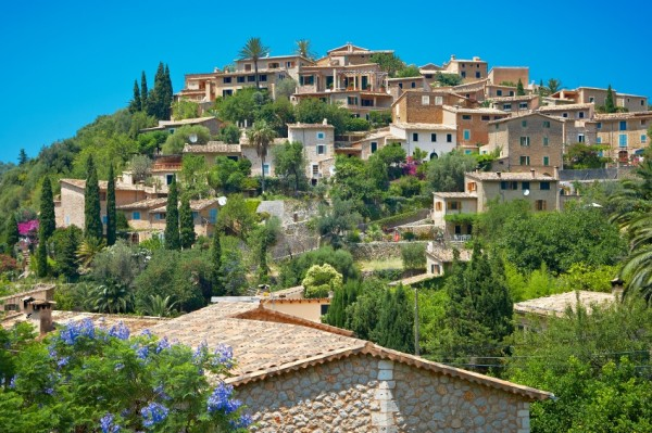 Deià, a small coastal village in the Serra de Tramuntana, which forms the northern ridge of the Spanish island of Mallorca.