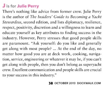 """J"" is for ""Julie Perry"" - From the ""A-Z Guide for Green Crew"" article in Dockwalk October 2013 by Alex Speed, p. 38."
