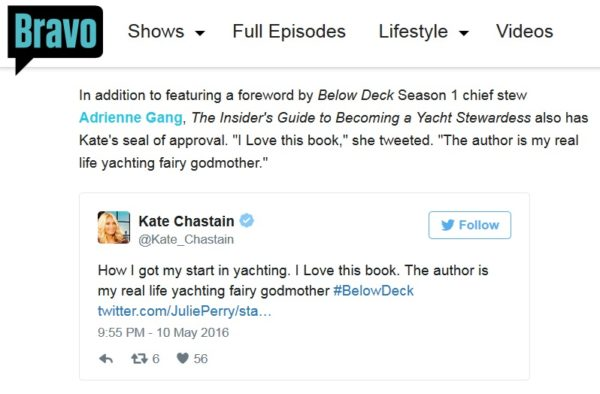 Kate Chastain Tweet - Yachting Fairy Godmother Julie Perry Yacht Stewardess