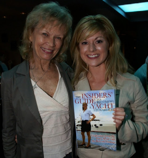 "Kristen Cavallini-Soothill, owner and operator of American Yacht Institute, with Julie Perry during the release party for the first edition of ""The Insiders' Guide to Becoming a Yacht Stewardess"""
