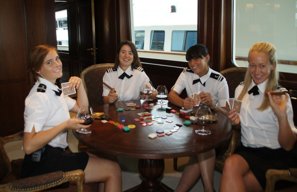 Motoryacht Big Aron stewardesses taking a break onboard