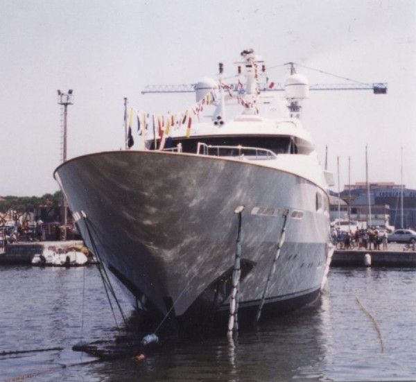"M/Y ""Lionheart"" -- now called ""Cuor Di Leone"" and used as M/Y 'Honor"" on Bravo TV's ""Below Deck"" -- just after it was christened by its then owner and launched from Benetti Shipyard, July 1999."