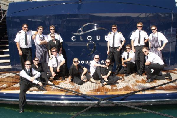 Motoryacht Cloud 9 Superyacht Crew on Aft Deck