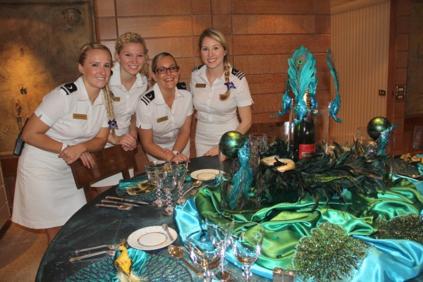 """The megayacht stewardesses of M/Y """"Huntress"""" strut their table-decorating stuff! Photo Credit: Suki Finnerty of YachtingToday.TV"""