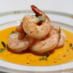 Poached Shrimp with Coconut Butternut Squash Sauce: Recipe from Yacht Chef & Author Victoria Allman