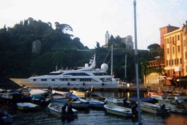 A megayacht Julie worked on docked in Portofino, Italy.