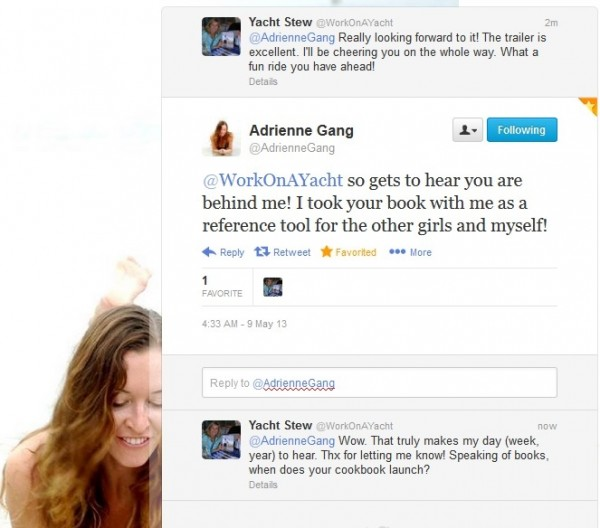 "A Twitter conversation with ""Below Deck"" Chief Stewardess, Adrienne Gang, shortly after the official release of the show was announced."