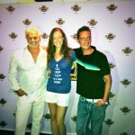 "Captain Lee, Chief Stew Adrienne Gang, and Chef Ben Robinson, at the ""Below Deck"" finale episode viewing party at the Tampa Hard Rock Cafe. Notice Adrienne's shirt. It reads: ""Keeping Calm and Get $#!@ Done"""